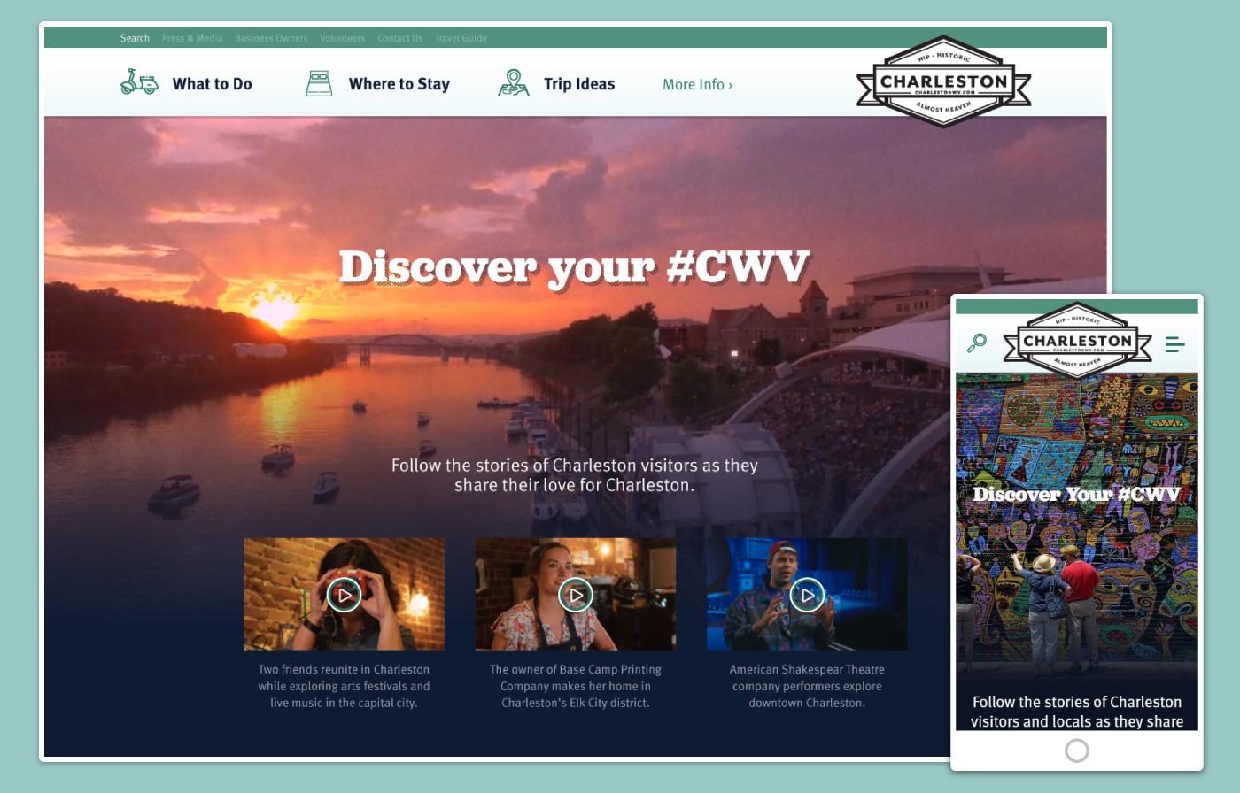 charlestonwv.com homepage on desktop and mobile.