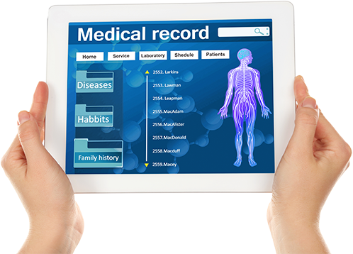hands holding medical record tablet