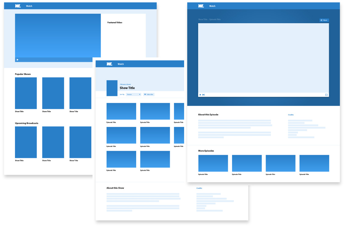 A collection of early project wireframes for the homepage, show page, and player page.
